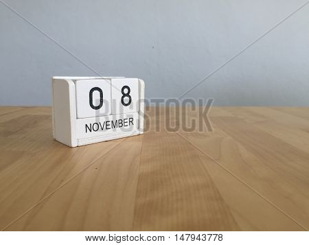 November 8Th. November 8 White Wooden Calendar On Vintage Wood Abstract Background.autumn Day.copysp