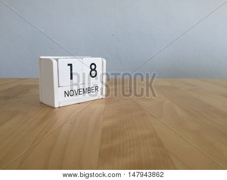 November 18Th. November 18 White Wooden Calendar On Vintage Wood Abstract Background.autumn Day.copy