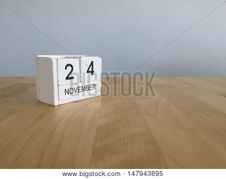 November 24Th. November 24 White Wooden Calendar On Vintage Wood Abstract Background.autumn Day.copy
