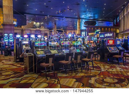 LAS VEGAS - JUNE 14 : The interior of New York-New York Hotel & Casino in Las Vegas on June 14 2016. This hotel simulates the real New York City street and It was opened in 1997.
