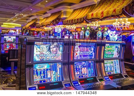 LAS VEGAS - MAY 21 : The interior of Bellagio hotel and casino on May 21 2016 in Las Vegas. Bellagio is a luxury hotel and casino located on the Las Vegas Strip. The Bellagio opened on 1998.