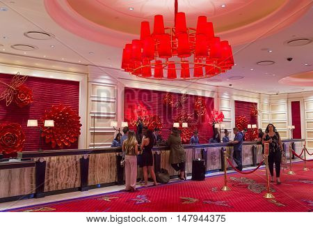 LAS VEGAS - MAY 21 : The interior of Encore Hotel and casino in Las Vegas on May 21 2016. The hotel has 2716 rooms and opened in 2005.