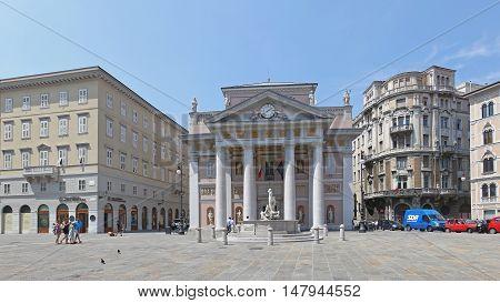 TRIESTE ITALY - JULY 15: Palazzo della Borsa Vecchia Trieste on JULY 15 2013. Palazzo della Borsa Vecchia at Piazza della Borsa Square in Trieste Italy.