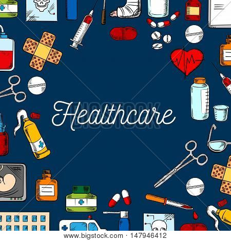 Healthcare and medicine background with hospital, ambulance, pill, syringe, heart, blood bag, medicine bottle, skull and baby scan, dropper, scissors, glasses and ointment tube sketches