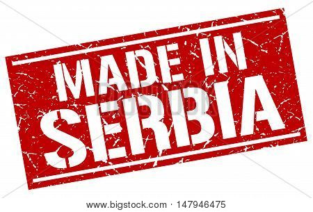 made in Serbia. Stamp. Square grunge sign