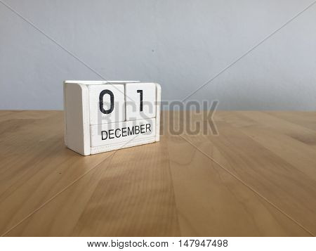 December 1St.december 1 White Wooden Calendar On Vintage Wood Abstract Background. New Year At Work