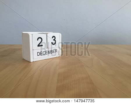 December 23Rd.december 23 White Wooden Calendar On Vintage Wood Abstract Background. New Year At Wor