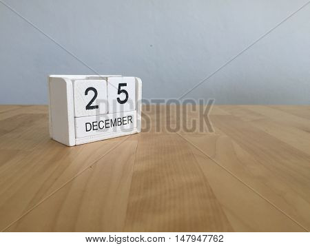 December 25Th.december 25 White Wooden Calendar On Vintage Wood Abstract Background. New Year At Wor