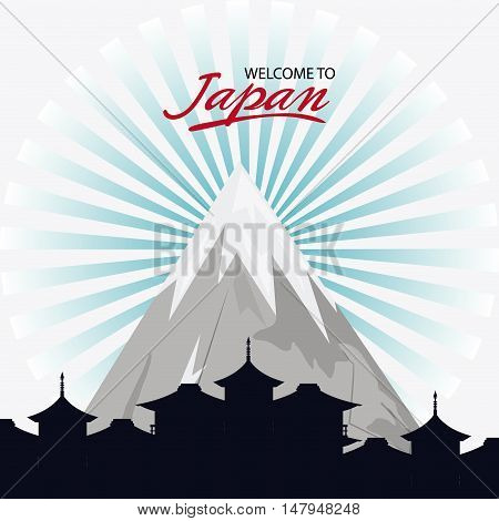Mountain and city silhouette icon. Japan culture landmark and asia theme. Colorful design. Vector illustration