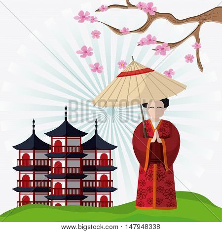 tower building and woman with umbrella icon. Japan culture landmark and asia theme. Colorful design. Striped background. Vector illustration