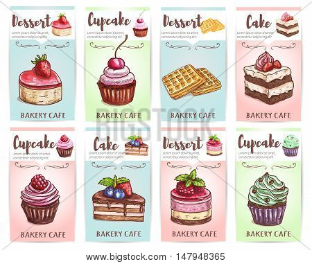 Cake, cupcake, muffin and waffle banners set of pastry desserts with cream, chocolate, fresh cherry, strawberry, raspberry, blueberry fruit. Bakery shop and cafe design
