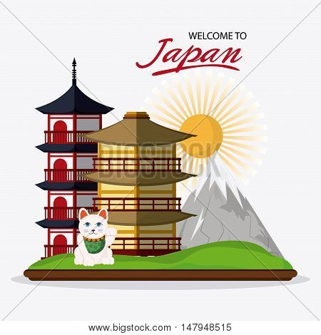 tower building mountain sun and cat icon. Japan culture landmark and asia theme. Colorful design. Vector illustration