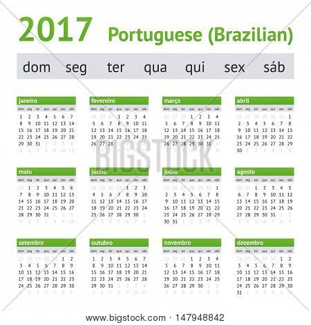 2017 Portuguese American Calendar. Week starts on Sunday