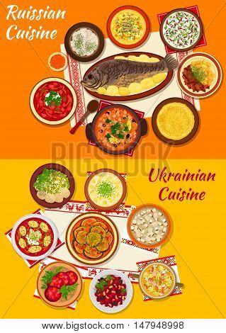 Russian and ukrainian cuisine icon with beet soup borscht, meat dumpling, thin pancake with caviar, vegetable stew, salad and soup, beef stroganoff, baked fish, fish soup and chicken aspic