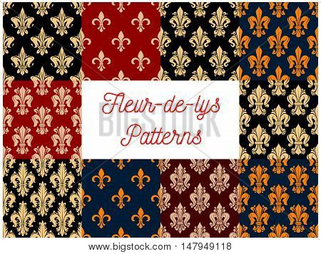 Victorian fleur-de-lis seamless patterns with set of floral background with french royal lilies. Vintage wallpaper, textile or interior design