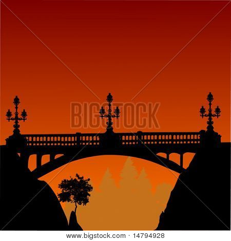 illustration with bridge above precipice and sunset