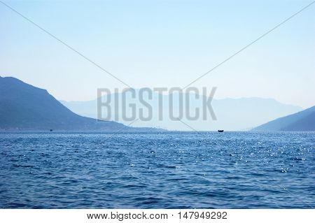 Monochrome summer seascape in Boka Bay, Montenegro