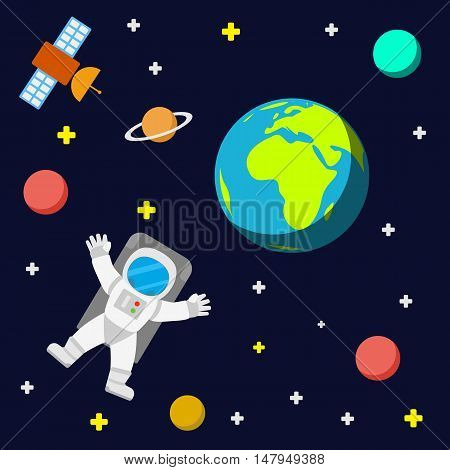 Universe vector template background with spaceman and satellite. Outer space with astronaut planets and stars.