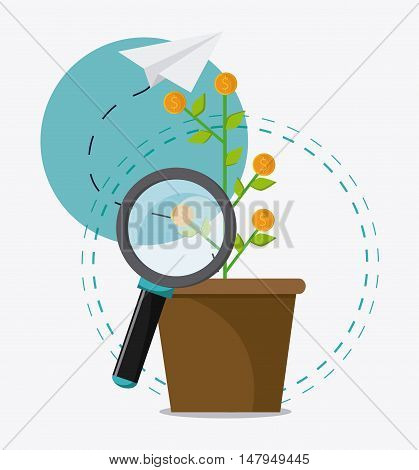 Plant lupe coins and paperplane icon. Business financial item and strategy theme. Colorful design. Vector illustration