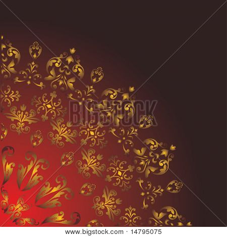 illustration with floral quadrant on dark background