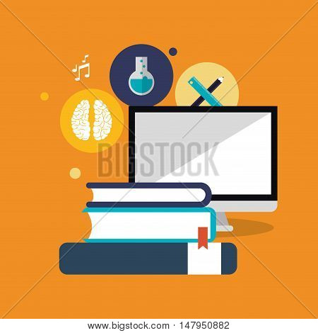 flat design computer with education and academia related icons image vector illustration