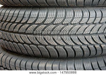 Car tire automobile sport, snow close up