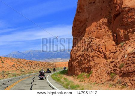 Glen Canyon National Park as seen from atop a motorcycle