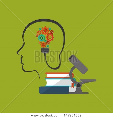 flat design human head profile with education and academia related icons image vector illustration