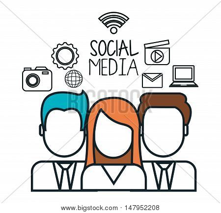 avatar group social media design isolated vector illustration eps 10