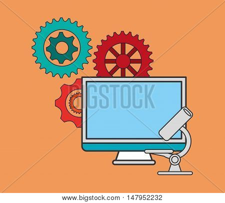 flat design gears with education and academia related icons image vector illustration