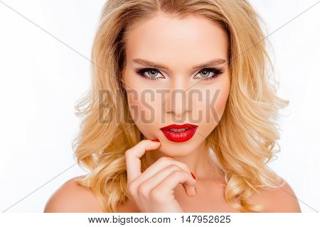 Portrait Of Attractive Passion Blonde With Professional Make Up
