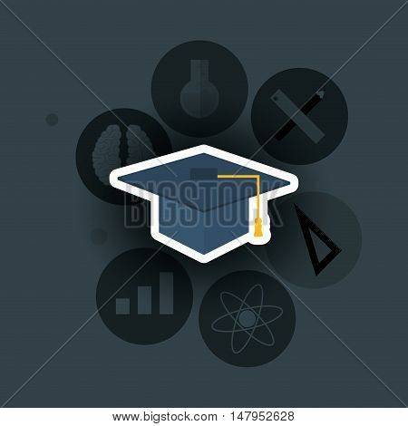 flat design graduation cap with education and academia related icons image vector illustration