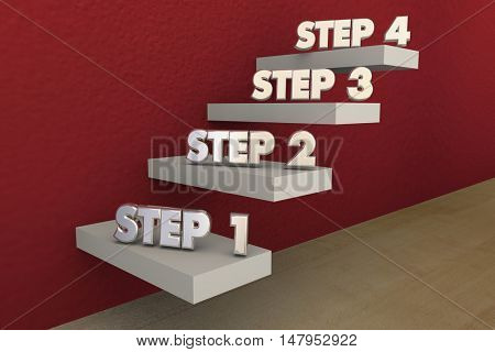 Steps 1 to 4 One Four Process Stairs 3d Illustration