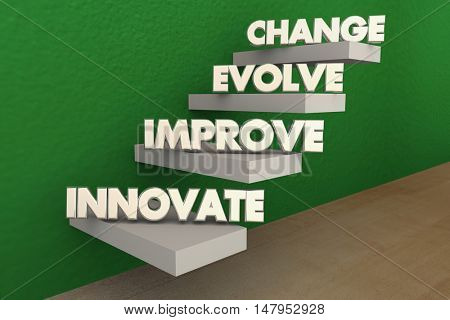 Innovate Improve Evolve Change Steps 3d Illustration