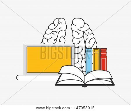 flat design human brain with  education and academia related icons image vector illustration
