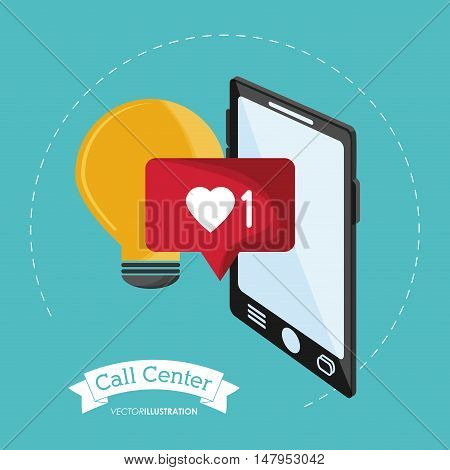 Smartphone bulb and bubble icon. Call center and technical service theme. Colorful design. Vector illustration