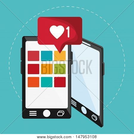 Smartphone planet and bubble icon. Email mail message communication and technology theme. Colorful design. Vector illustration