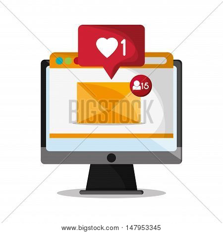 Computer envelope and bubble icon. Email mail message communication and technology theme. Colorful design. Vector illustration