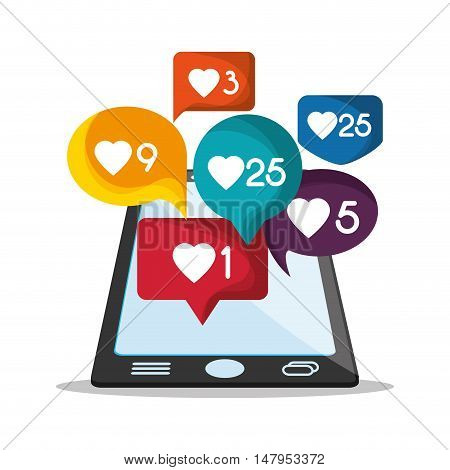 Smartphone and bubble icon. Email mail message communication and technology theme. Colorful design. Vector illustration