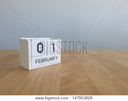 February 1St.february 1 White Wooden Calendar On Vintage Wood Abstract Background.winter Time. Copys