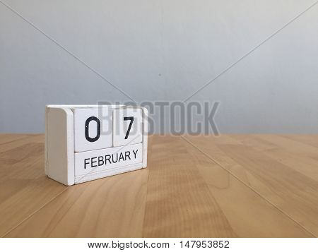 February 7Th.february 7 White Wooden Calendar On Vintage Wood Abstract Background.winter Time. Copys