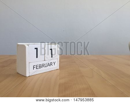 February 11Th.february 11 White Wooden Calendar On Vintage Wood Abstract Background.winter Time. Cop