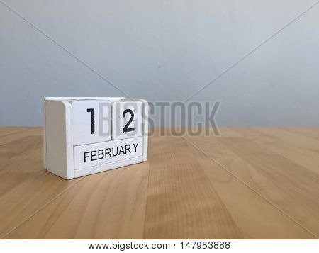 February 12Th.february 12 White Wooden Calendar On Vintage Wood Abstract Background.winter Time. Cop