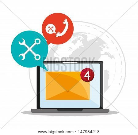 Laptop tools bubble and envelope icon. Email mail message communication and technology theme. Colorful design. Vector illustration