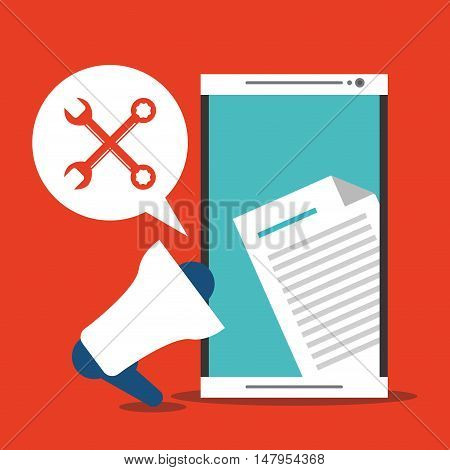 Smartphone megaphone tools and document icon. Email mail message communication and technology theme. Colorful design. Vector illustration