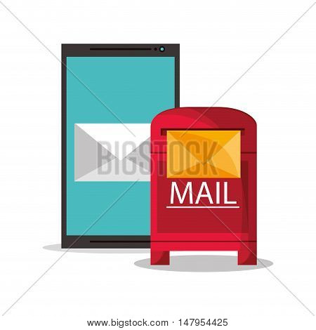 Smartphone and envelope icon. Email mail message communication and technology theme. Colorful design. Vector illustration