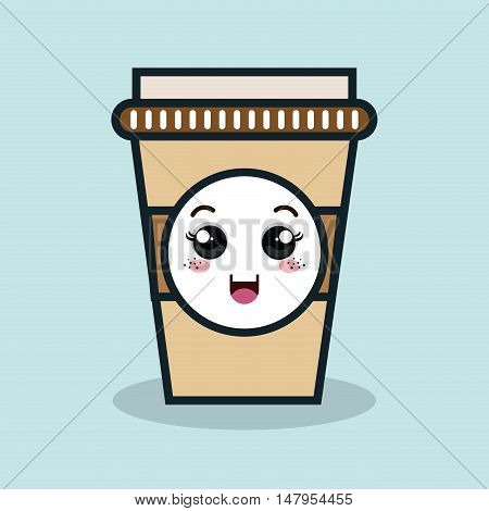 cup plastic drink facial expression isolated icon design, vector illustration  graphic