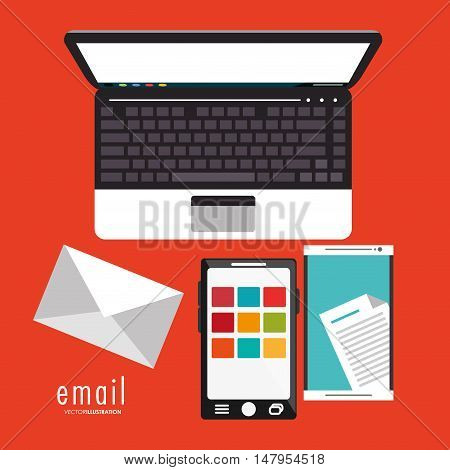 Smartphone laptop and envelope icon. Email mail message communication and technology theme. Colorful design. Vector illustration