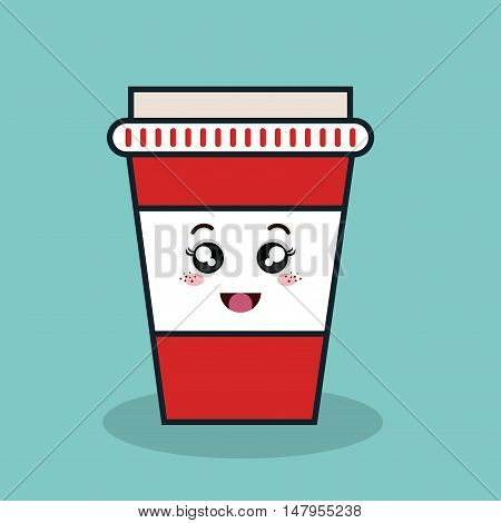 cartoon cup plastic facial expression isolated icon design, vector illustration  graphic