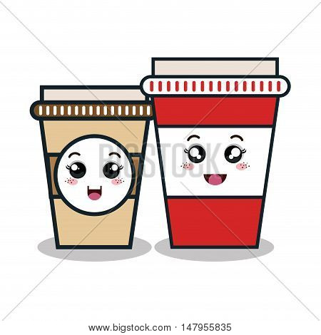 cartoon two cup plastic facial expression isolated design, vector illustration  graphic